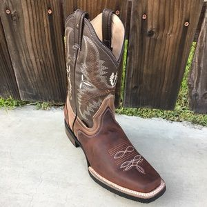 Mens Rodeo Square Toe All Leather Brown Boots